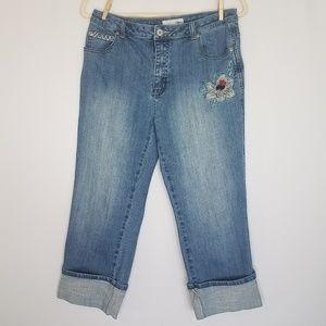 Chico's Platinum Medium Denim & Floral Capri Jeans